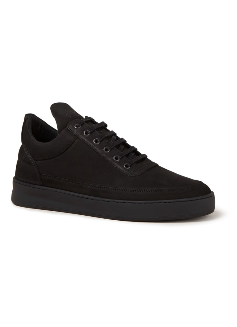 Filling Pieces - Low Top Plain sneaker van nubuck - Zwart
