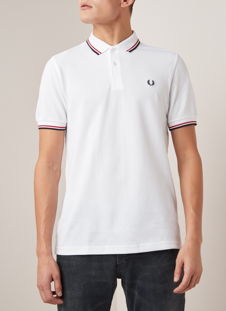 Fred Perry - M3600 regular fit polo met getipte boord - Wit