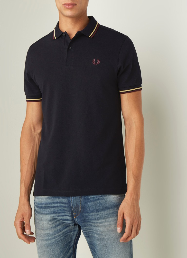 Fred Perry - Regular fit polo met getipte boord - Donkerblauw