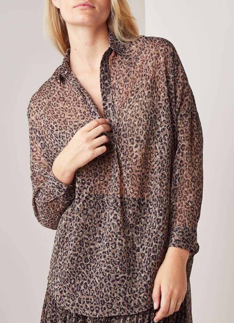 French Connection - Brunella blouse van chiffon met dessin - Grijs