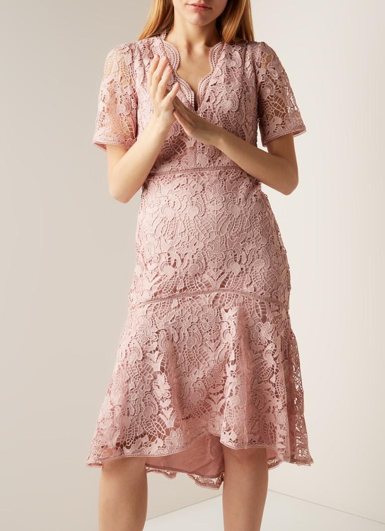 Verbazingwekkend French Connection Calli midi-jurk van opengewerkt kant • Oudroze BO-57