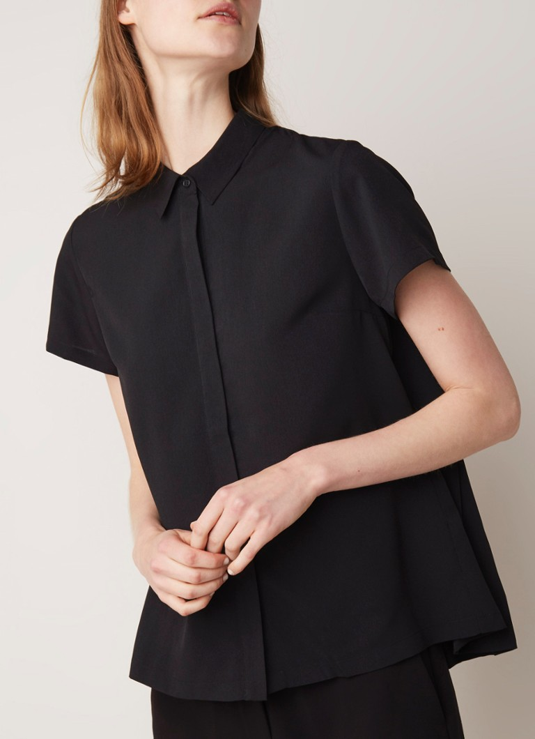 French Connection - Classic blouse van crêpe met plissé - Zwart
