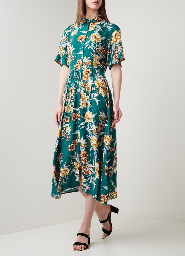 French Connection - Maxi blousejurk met bloemenprint en strikceintuur - Zeegroen