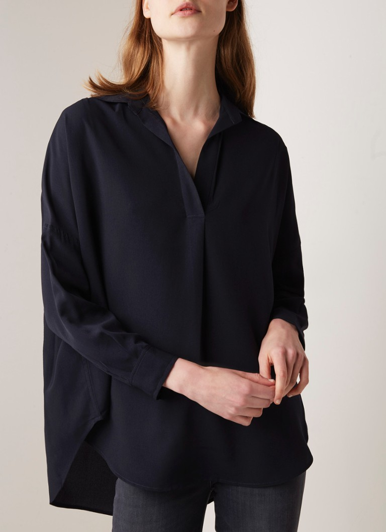 French Connection - Rhodes oversized tuniek van crêpe - Donkerblauw