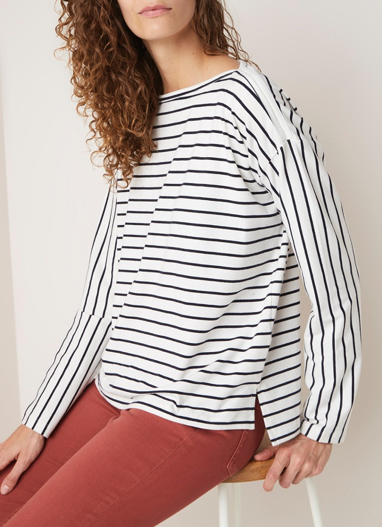French Connection - Rosana longsleeve met streepdessin - Wit