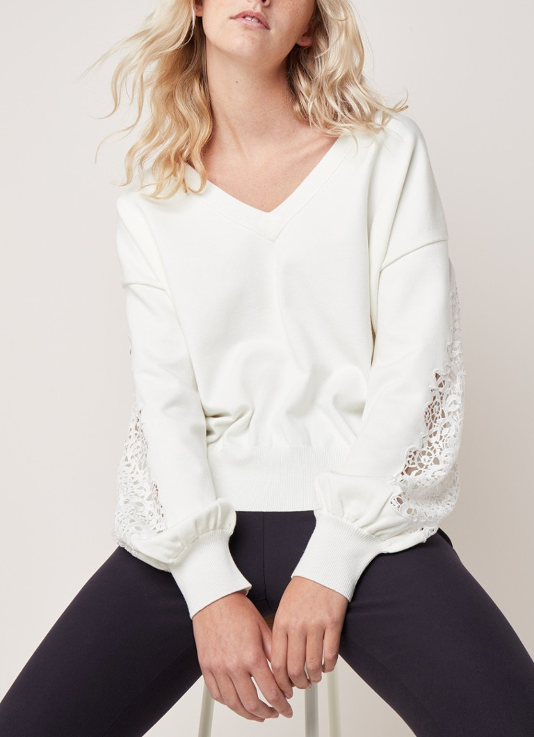 French Connection - Severine pullover met inzet van kant - Gebroken wit