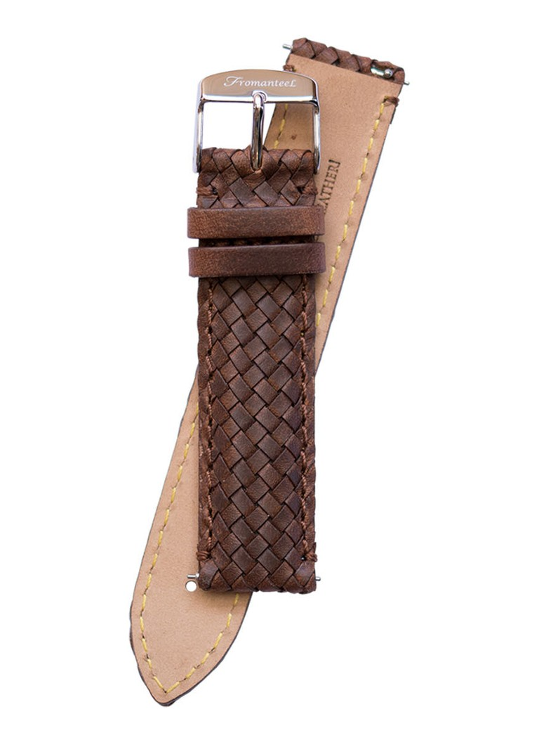 Fromanteel - Leather Braided horlogeband S-034 - Bruin