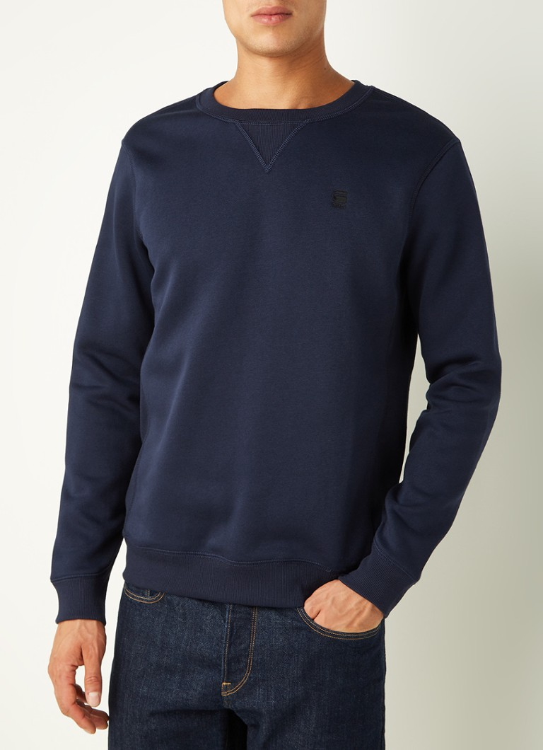 G-Star RAW - Premium Core sweater in gerecyclede polyesterblend - Donkerblauw