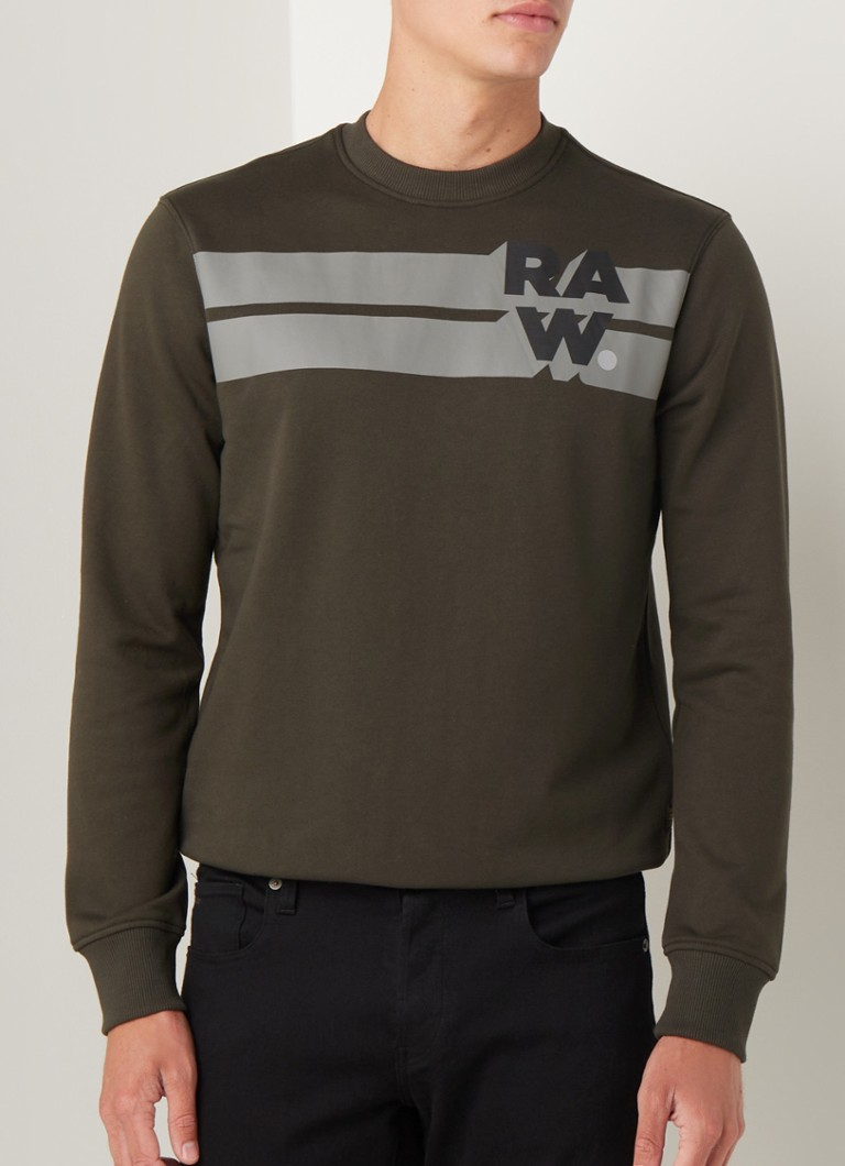 G-Star RAW - Sweater met logoprint - Legergroen