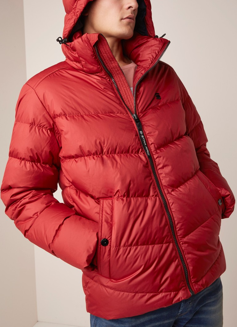 G-Star RAW - Whistler pufferjack met afneembare capuchon - Rood