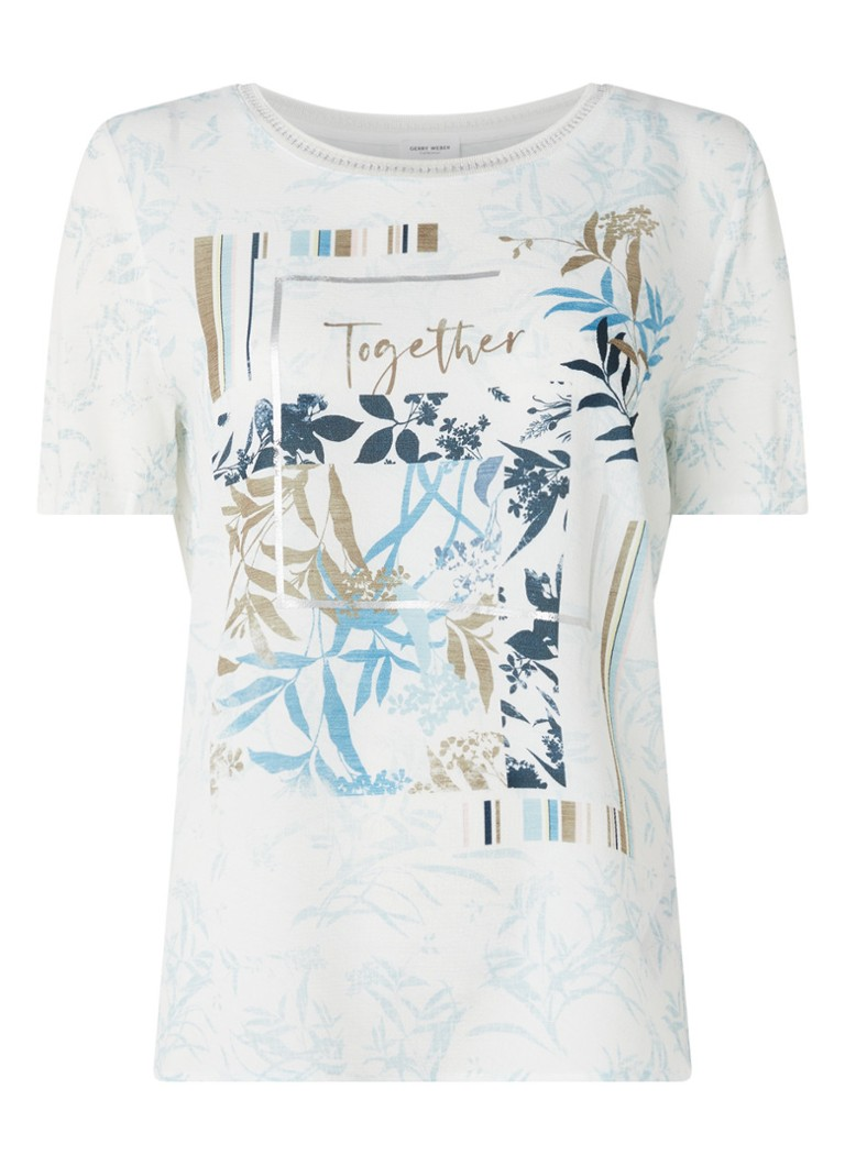 Gerry Weber - T-Shirt met bladprint - Wit