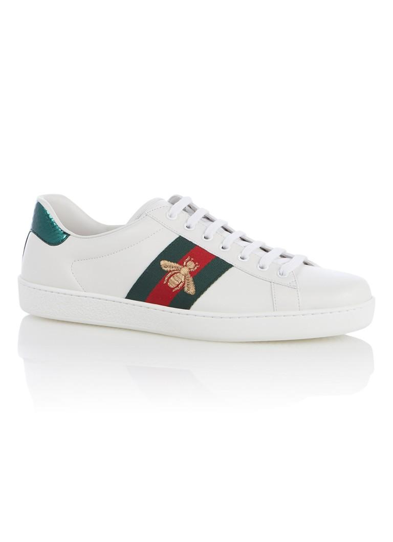 9572470a113 Gucci Ace sneaker van leer met Bee Web detail • de Bijenkorf
