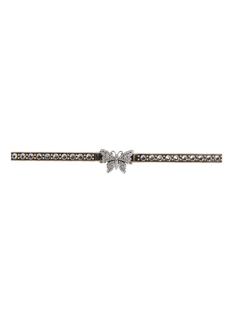 999aa8d66 Gucci Crystal Studded Butterfly choker van leer • de Bijenkorf