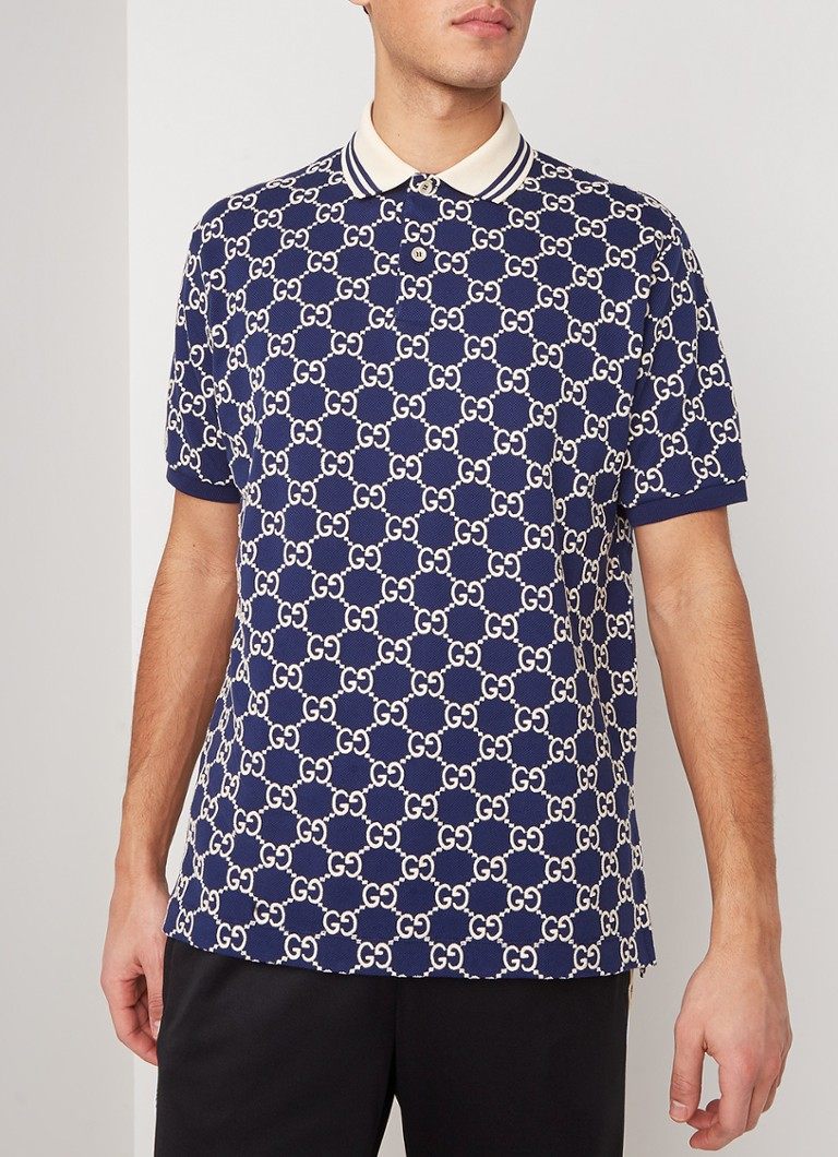 Gucci - Regular fit polo met logoprint - Donkerblauw
