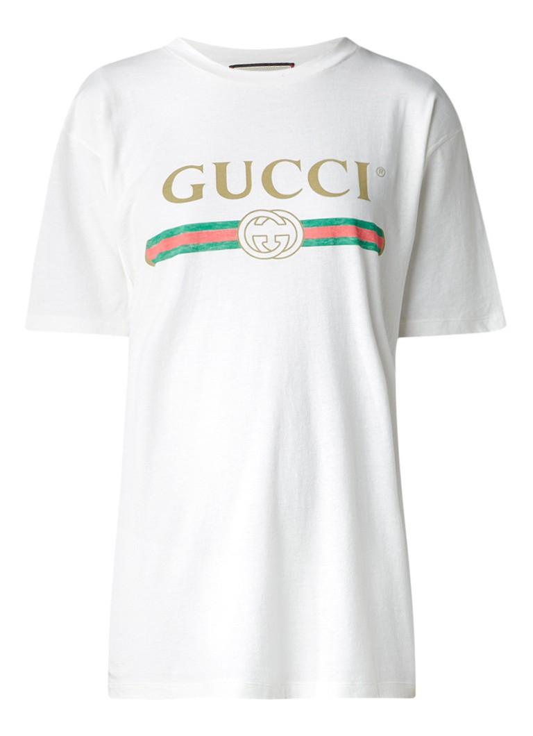 gucci retro t shirt met logoprint de bijenkorf. Black Bedroom Furniture Sets. Home Design Ideas