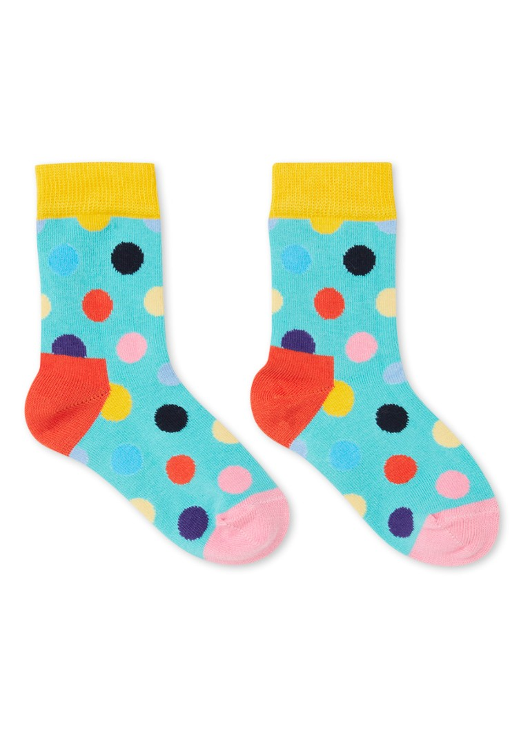 Happy Socks - Big Dot sokken met stippenprint - Turquoise