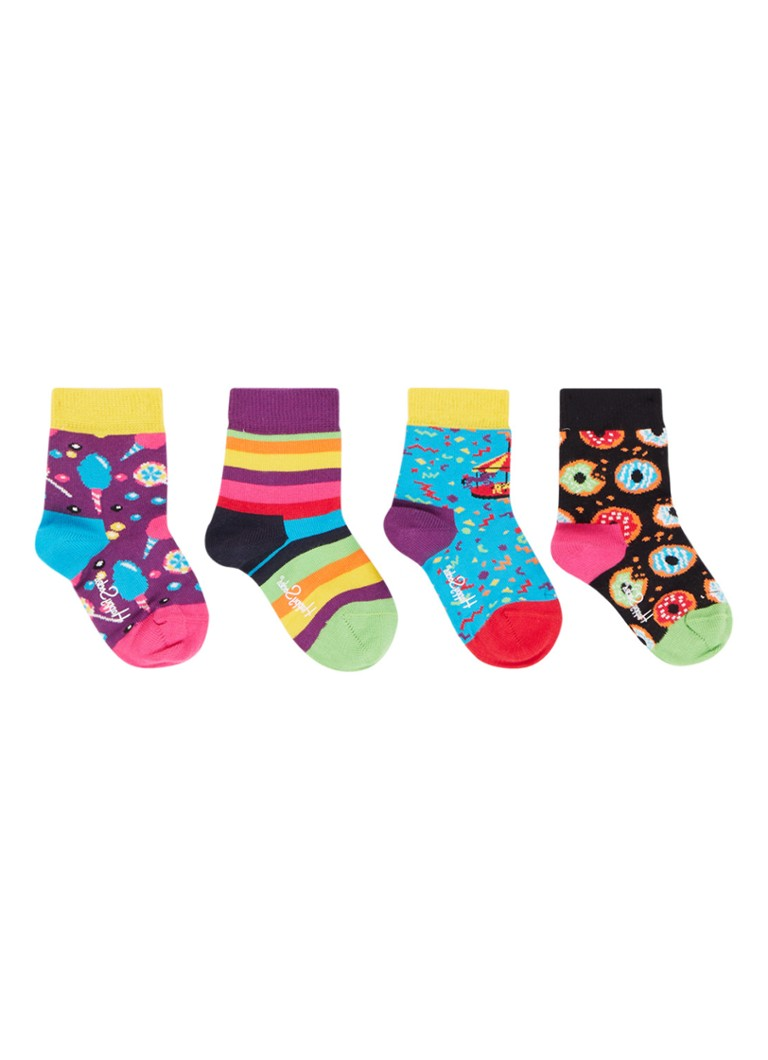 Happy Socks - Carousel sokken in 4-pack giftbox - Blauw