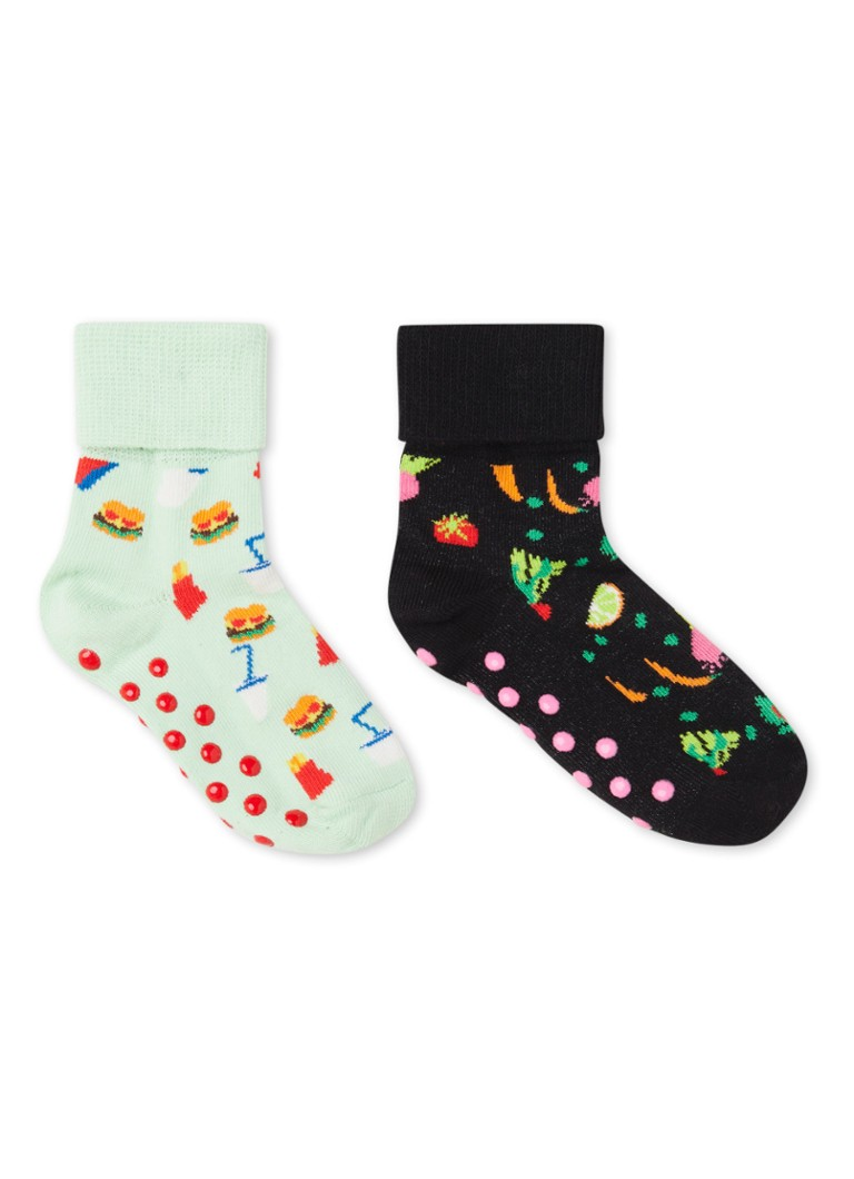 Happy Socks - Food sokken met anti-slip in 2-pack - Lichtgroen