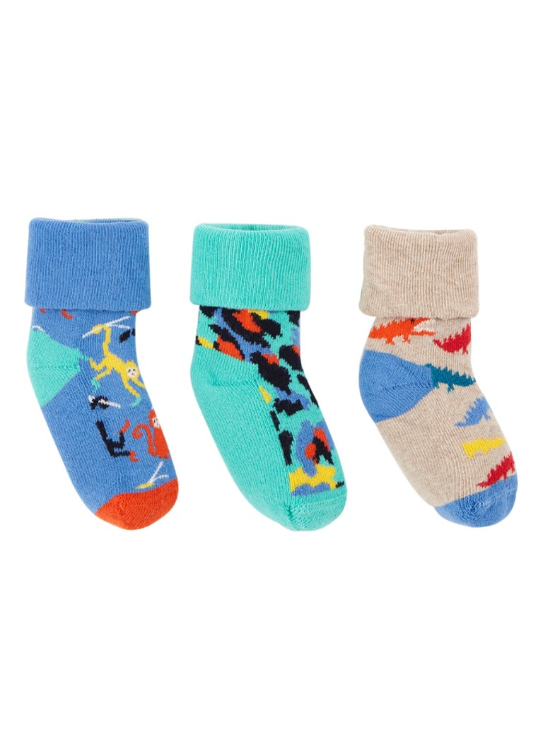Happy Socks - Jungle babysokken in 3-pack giftbox - Blauw