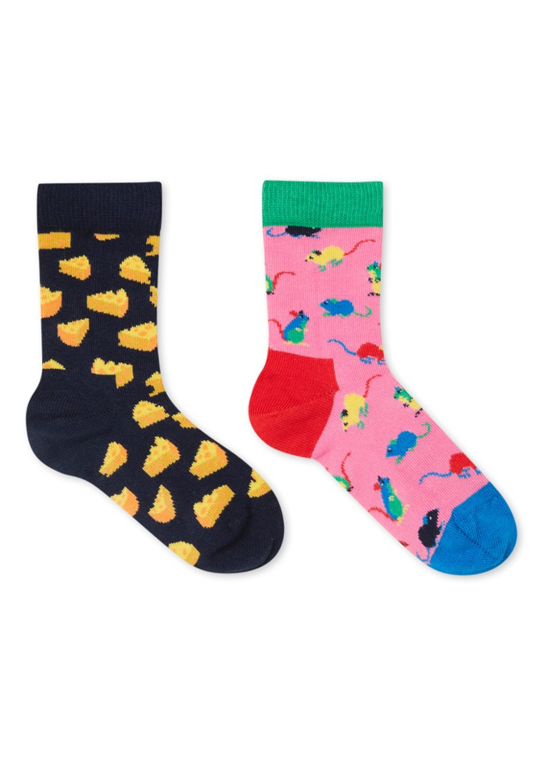 Happy Socks - Mouse sokken met print in 2-pack - Multicolor