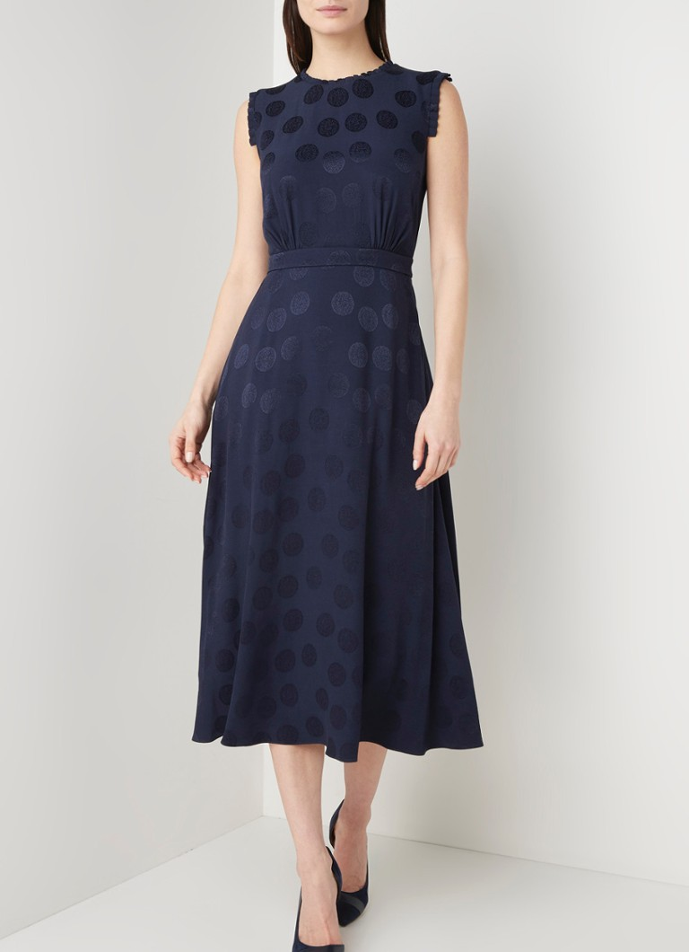 Hobbs - Ashley maxi jurk met burn-out stippenpatroon en ruches - Donkerblauw