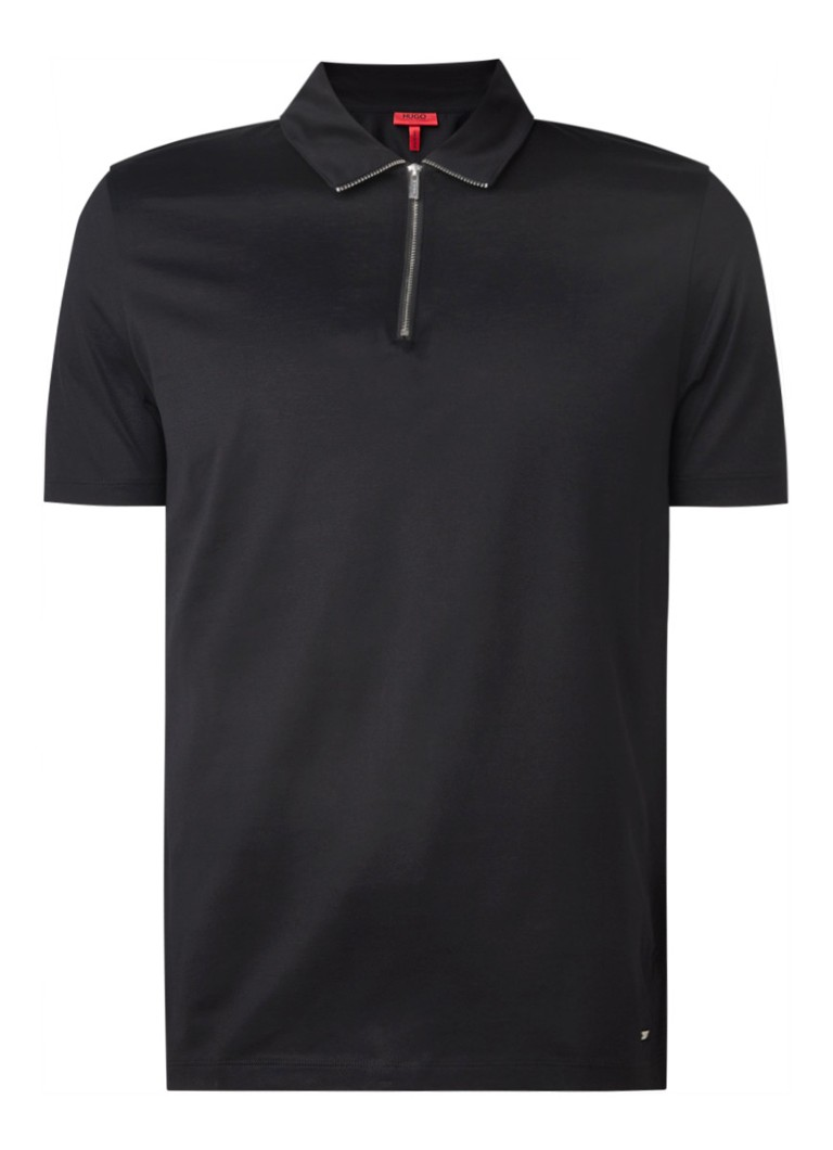 HUGO BOSS - Dasili slim fit polo met halve rits  - Zwart