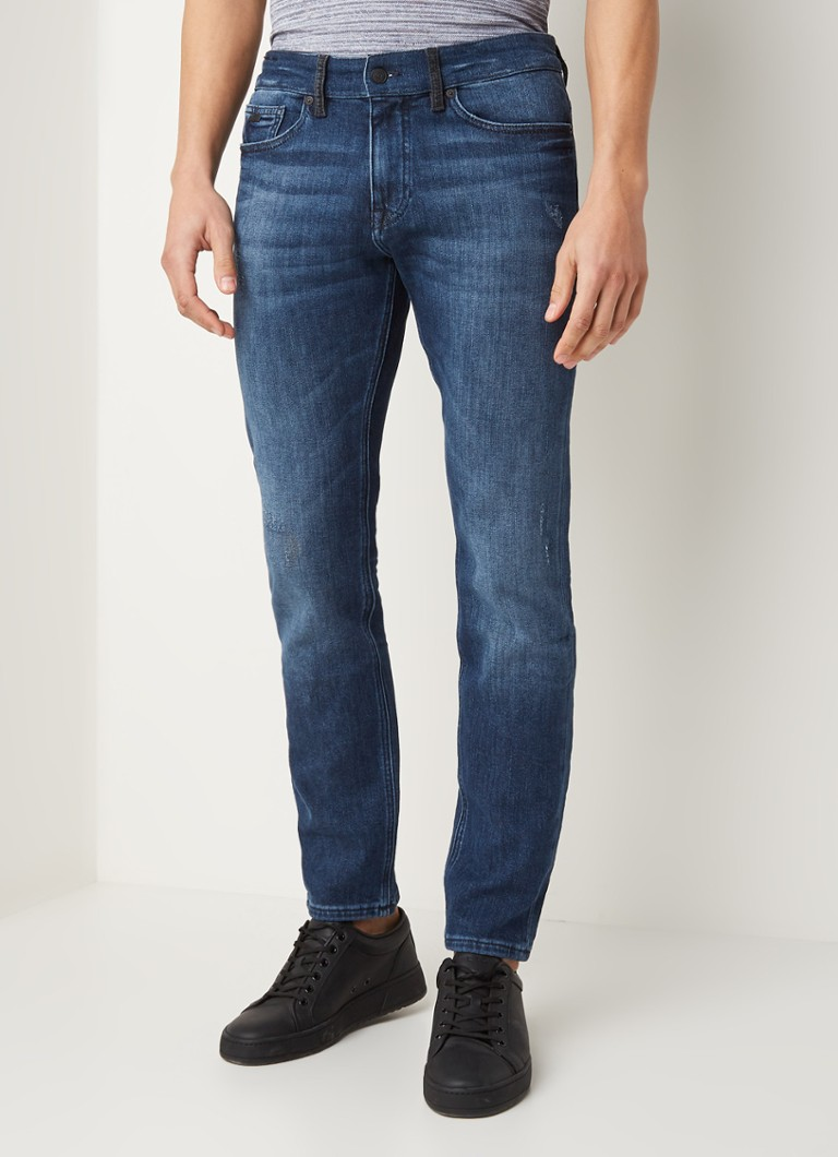 HUGO BOSS - Delaware slim fit jeans met stretch  - Indigo