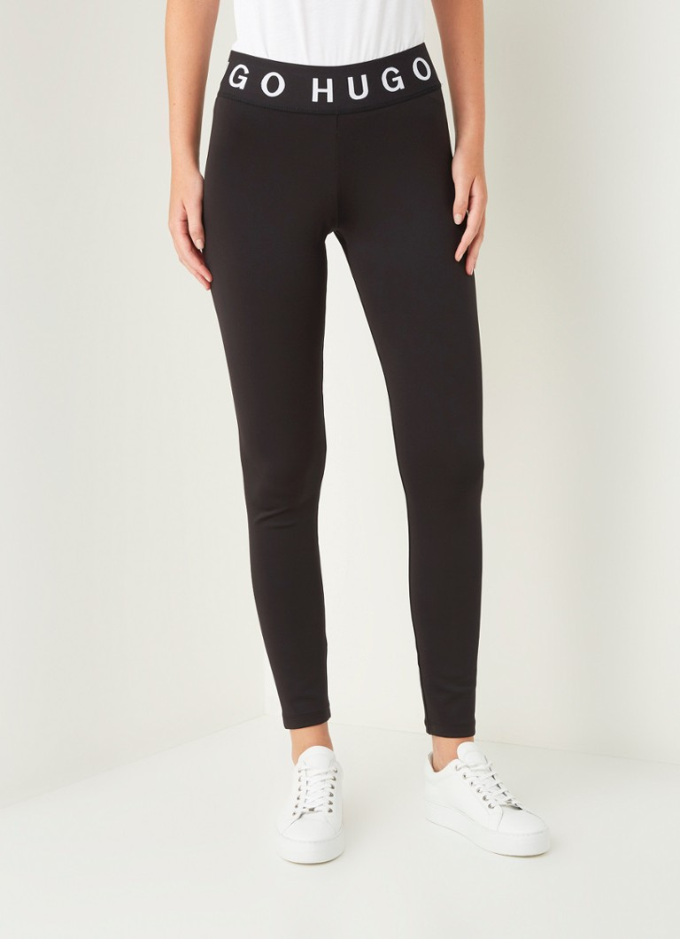 HUGO BOSS - Delisea high waist skinny fit cropped legging met logoprint - Zwart