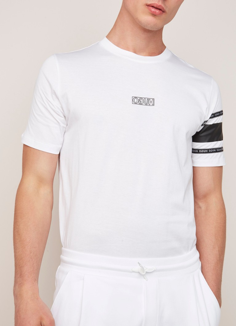 HUGO BOSS - Durned-U6 T-shirt met logoprint - Wit