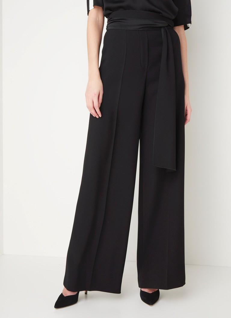 HUGO BOSS - Hedena high waist wide fit pantalon met persplooi - Zwart