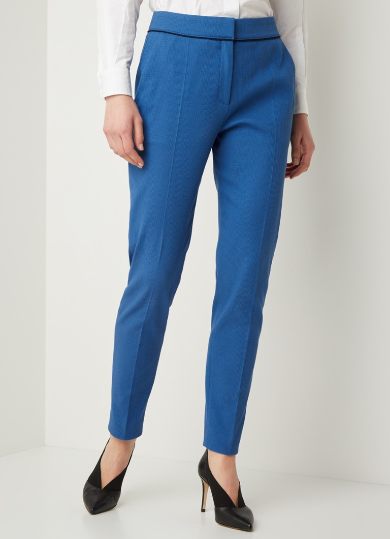 HUGO BOSS - High waist tapered fit cropped pantalon met stuctuur - Blauw