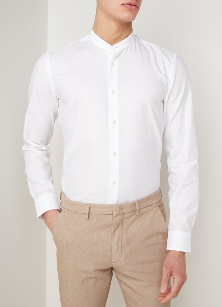 HUGO BOSS - Jordi slim fit overhemd met Mao-kraag - Wit