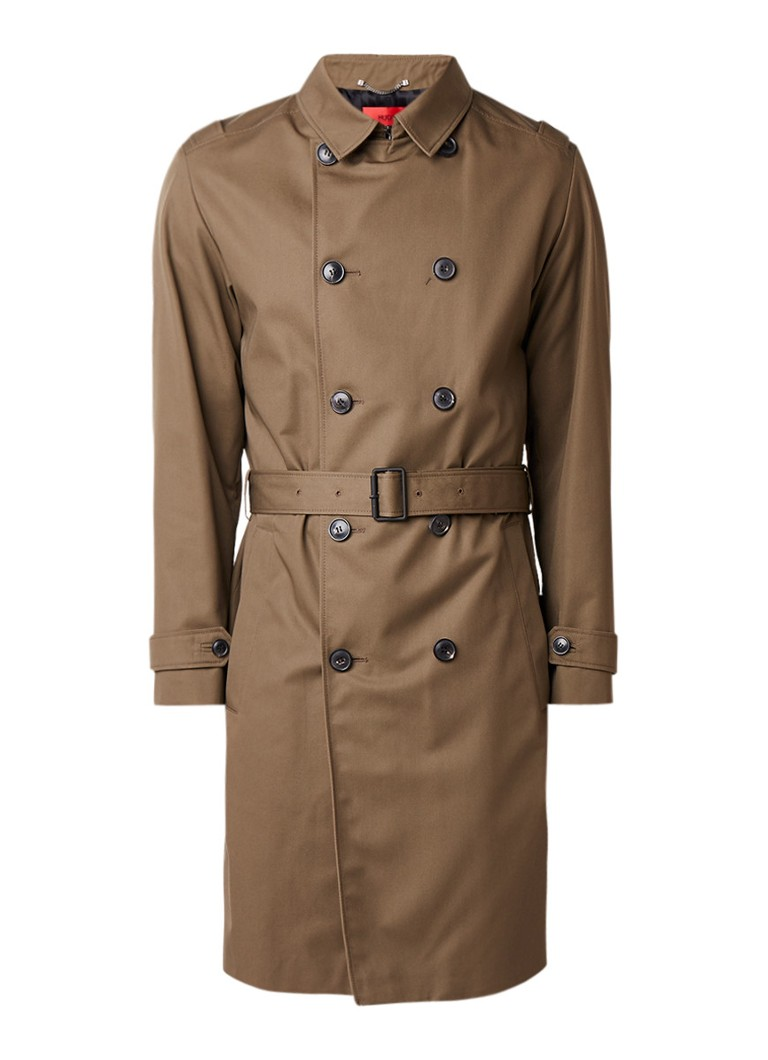hugo boss merlun trenchcoat met steekzakken en ceintuur de bijenkorf. Black Bedroom Furniture Sets. Home Design Ideas