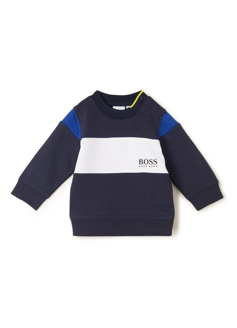 HUGO BOSS - Sweater met colourblocking - Donkerblauw