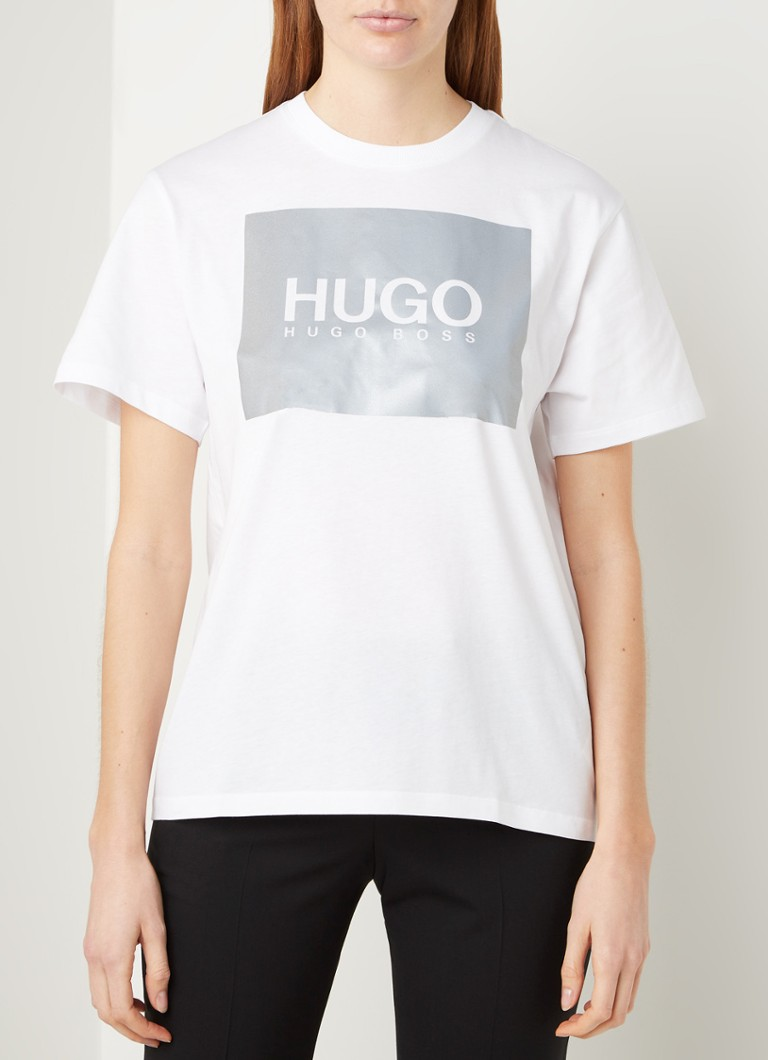 HUGO - The Boyfriend Tee T-shirt met logoprint - Wit