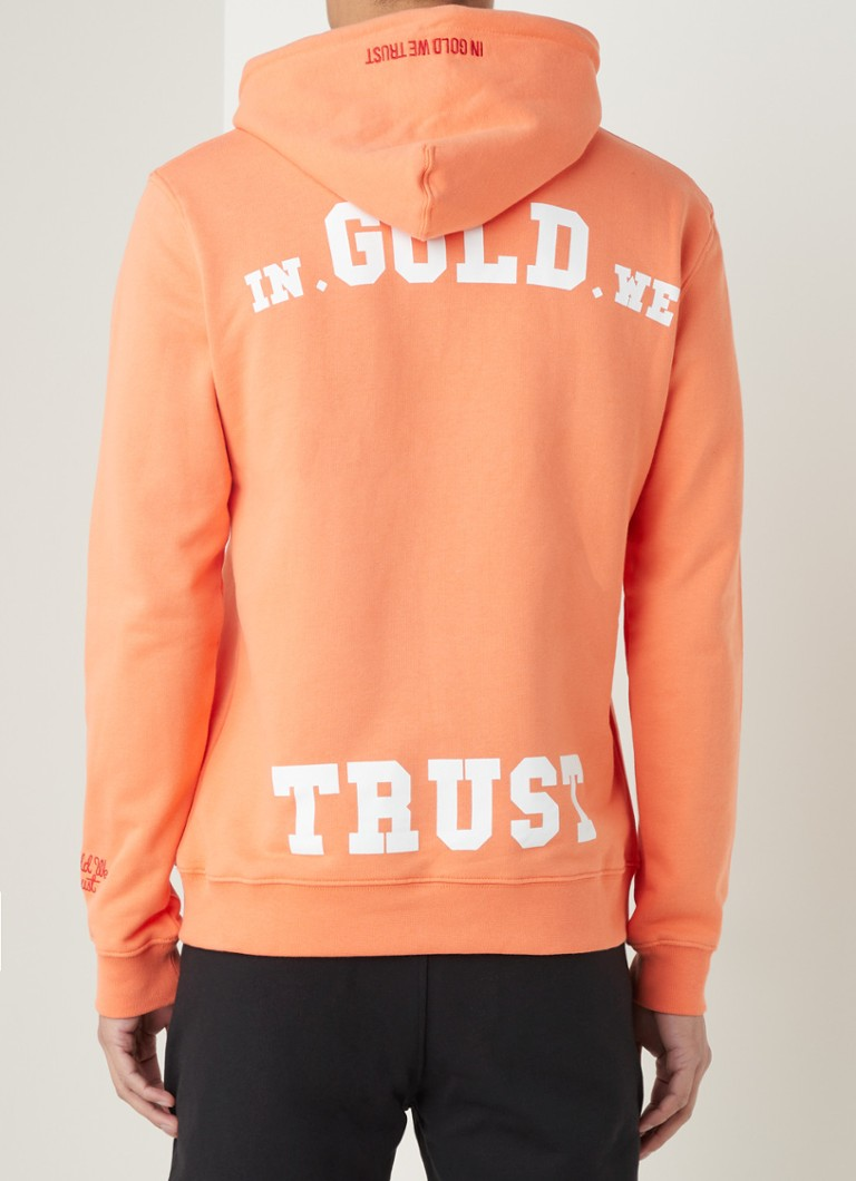 In Gold We Trust - Hoodie met logo- en backprint - Oranje