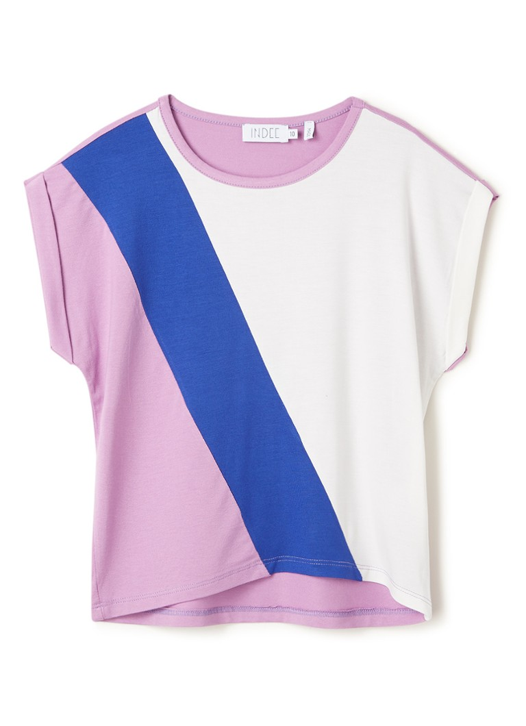 Indee - Ginevra T-shirt met colour blocking - Paars