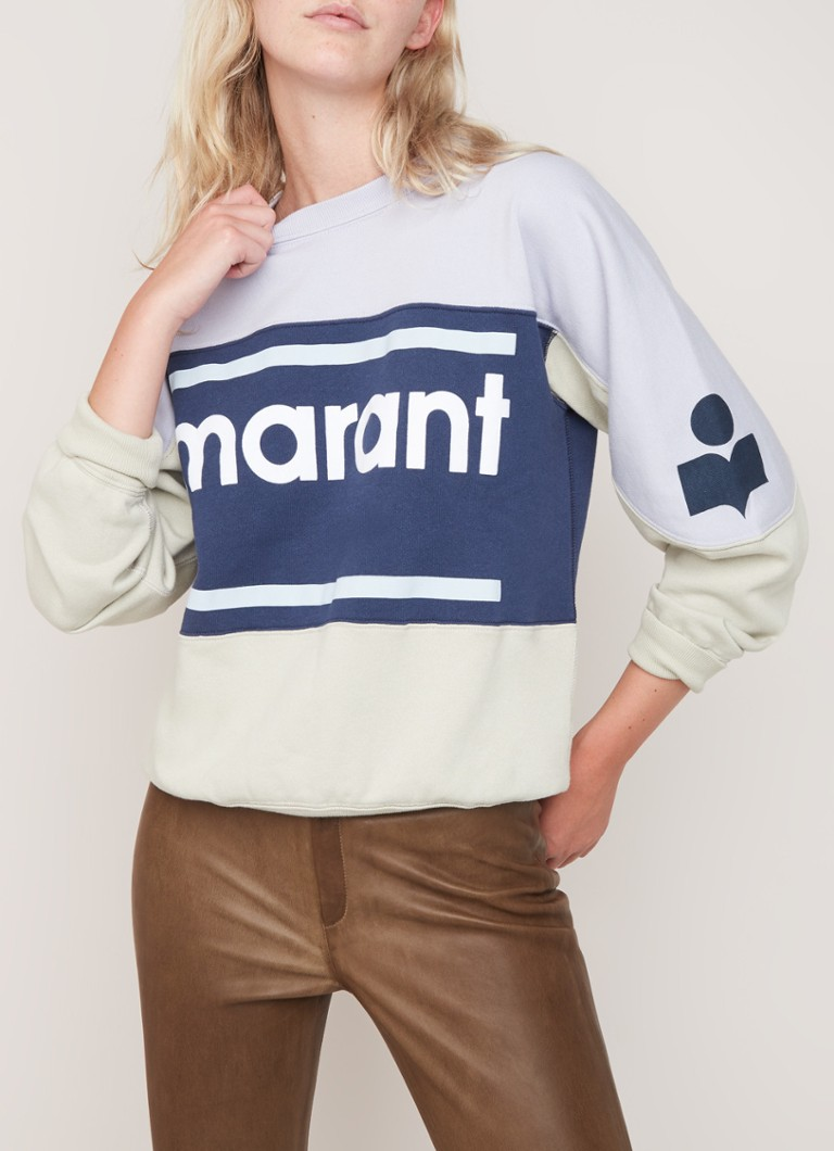 Isabel Marant Étoile - Gallian sweater met colour blocking en flock logoprint - Blauw