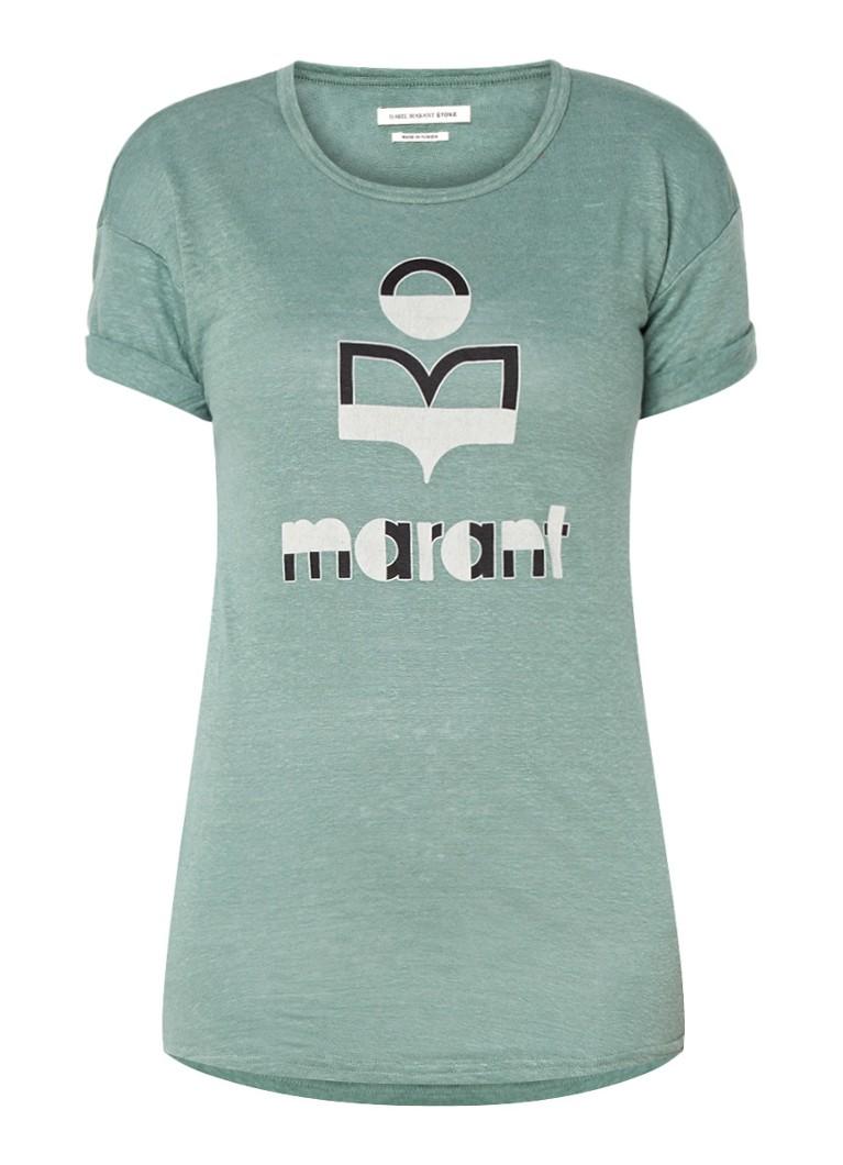 Isabel Marant Toile Kolda T Shirt Van Linnen Met Logo