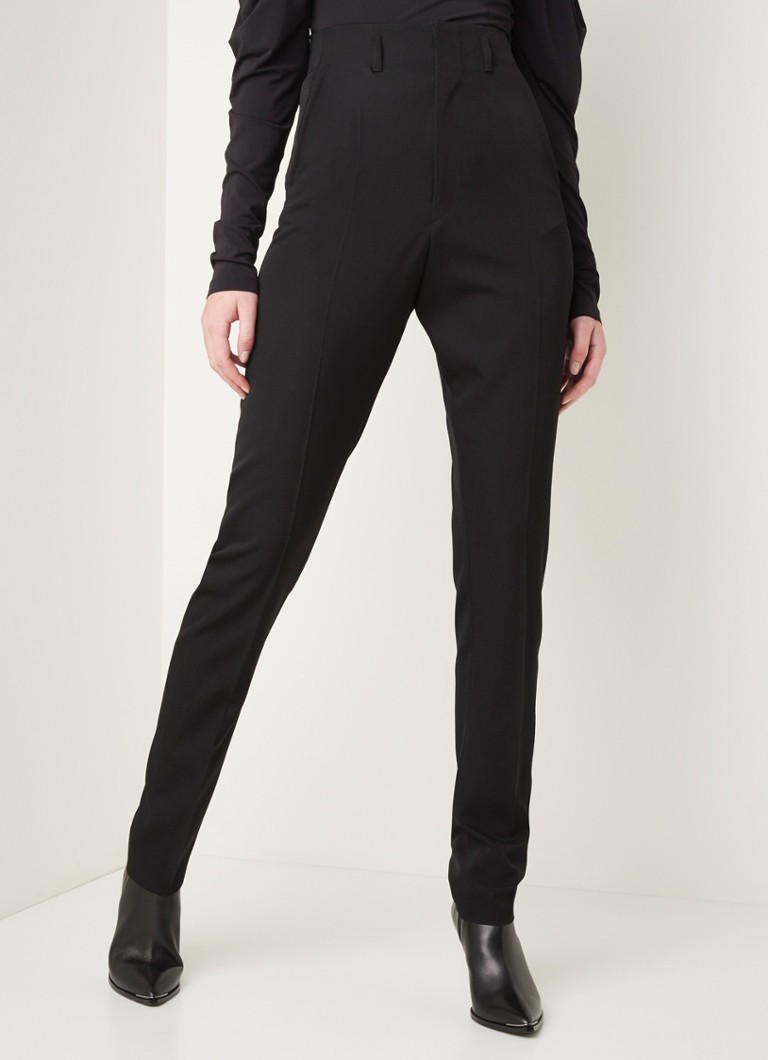 Isabel Marant - High waist slim fit pantalon van wol  - Zwart