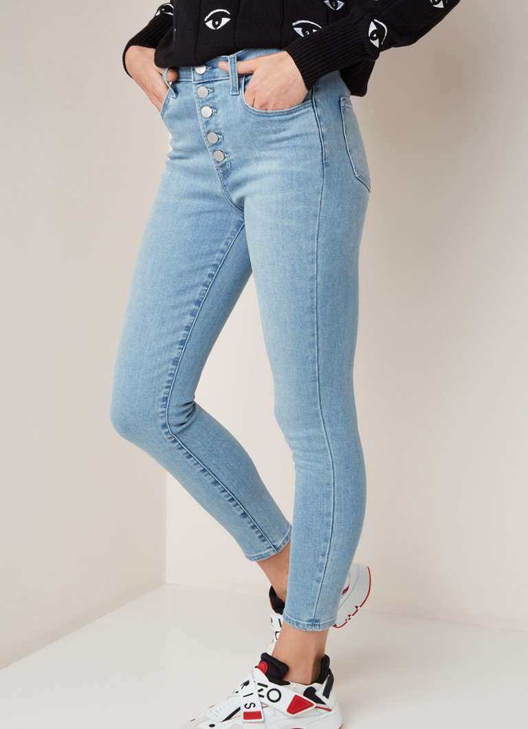 J Brand - Lillie super high rise cropped skinny fit jeans met lichte wassing - Indigo