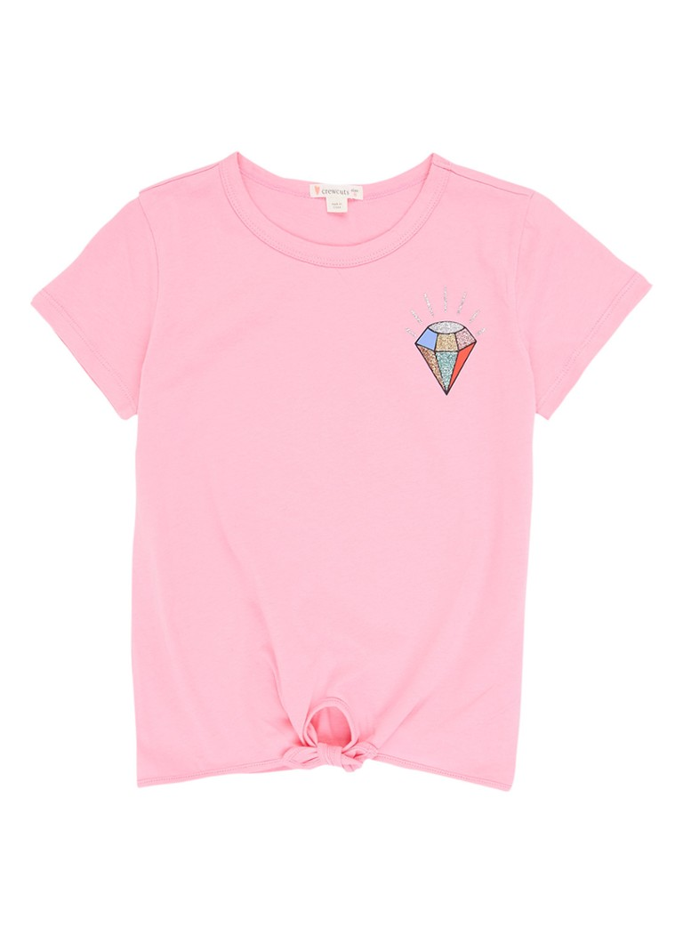 5c6f43b7cefd03 J.Crew T-shirt met glitterprint en knoopdetail • de Bijenkorf
