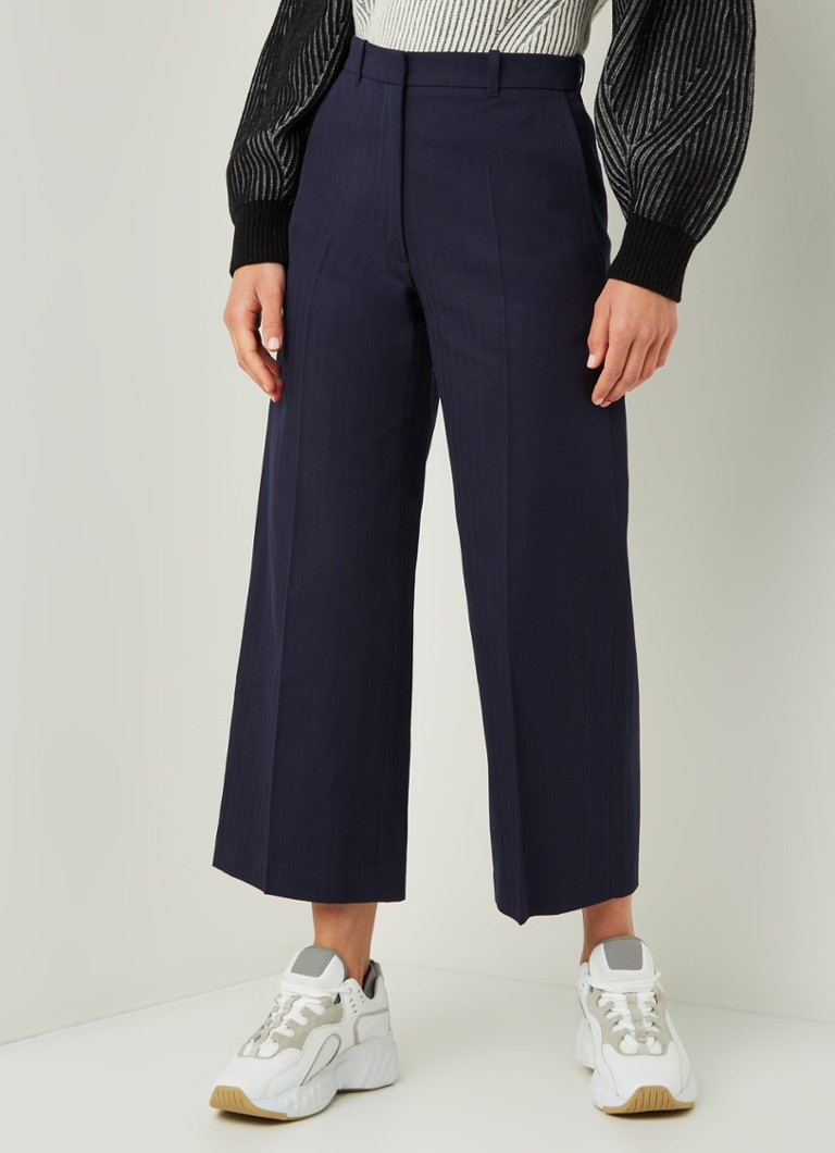 KENZO - High waist loose fit cropped pantalon in linnenblend - Donkerblauw