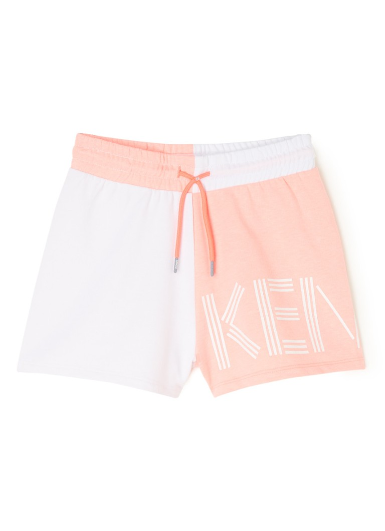 KENZO KIDS - Sweatshort met colourblocking en logoprint - Lichtroze