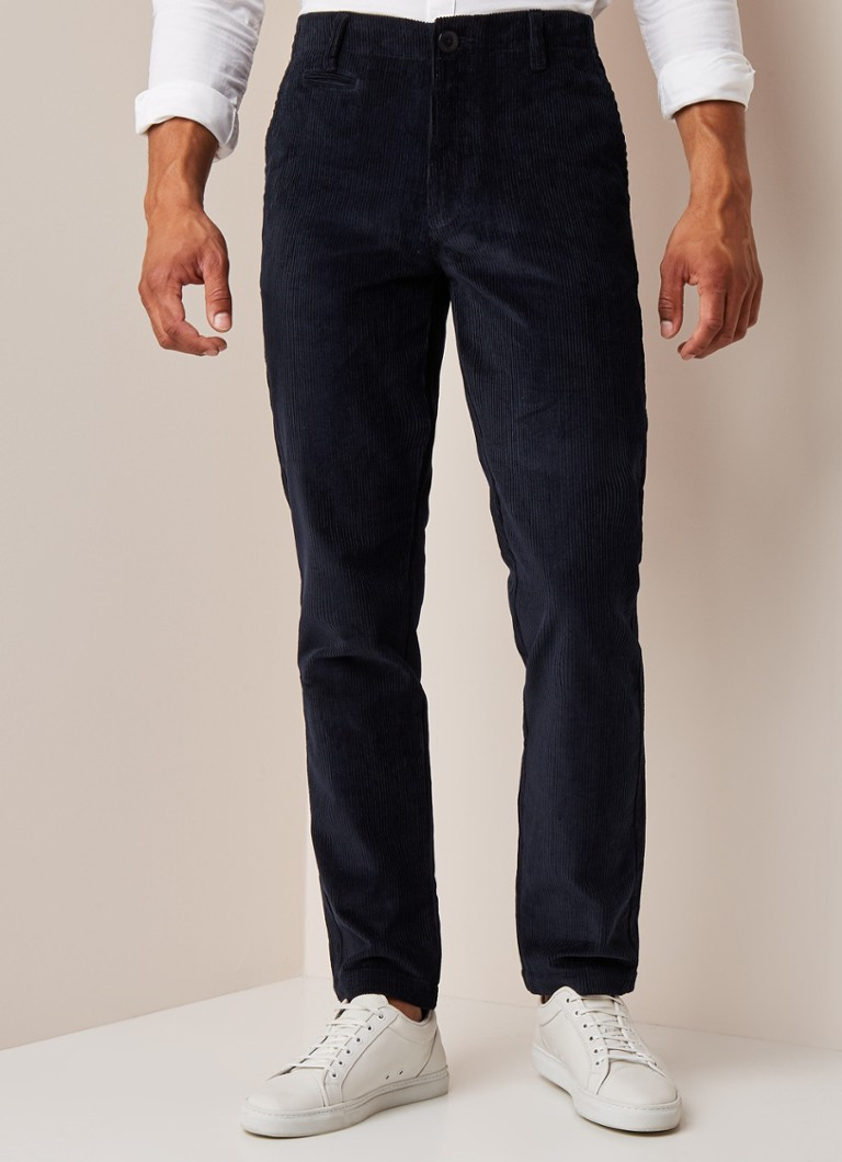 Knowledge Cotton Apparel - Chuck Wales straight fit chino van corduroy - Donkerblauw