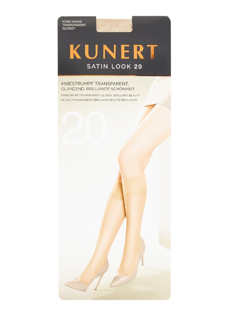 Kunert - Satin Look kniekousen in 20 denier teint - Naturel