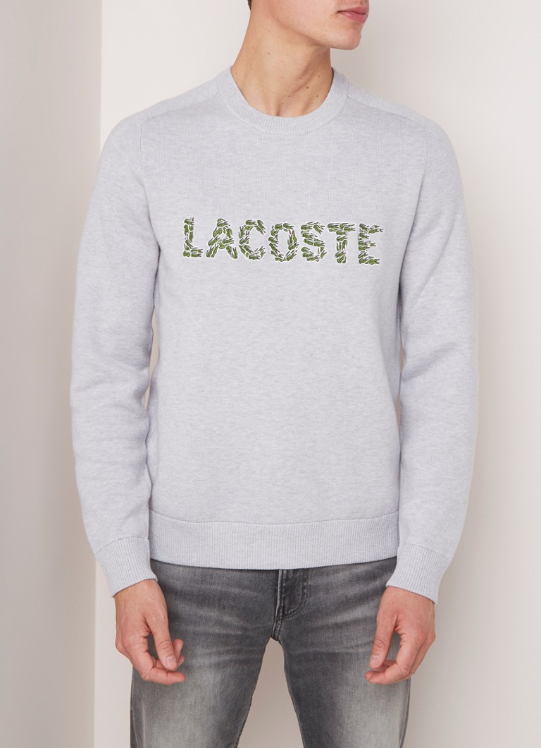 Lacoste - Pullover in wolblend met logoborduring  - Lichtgrijs