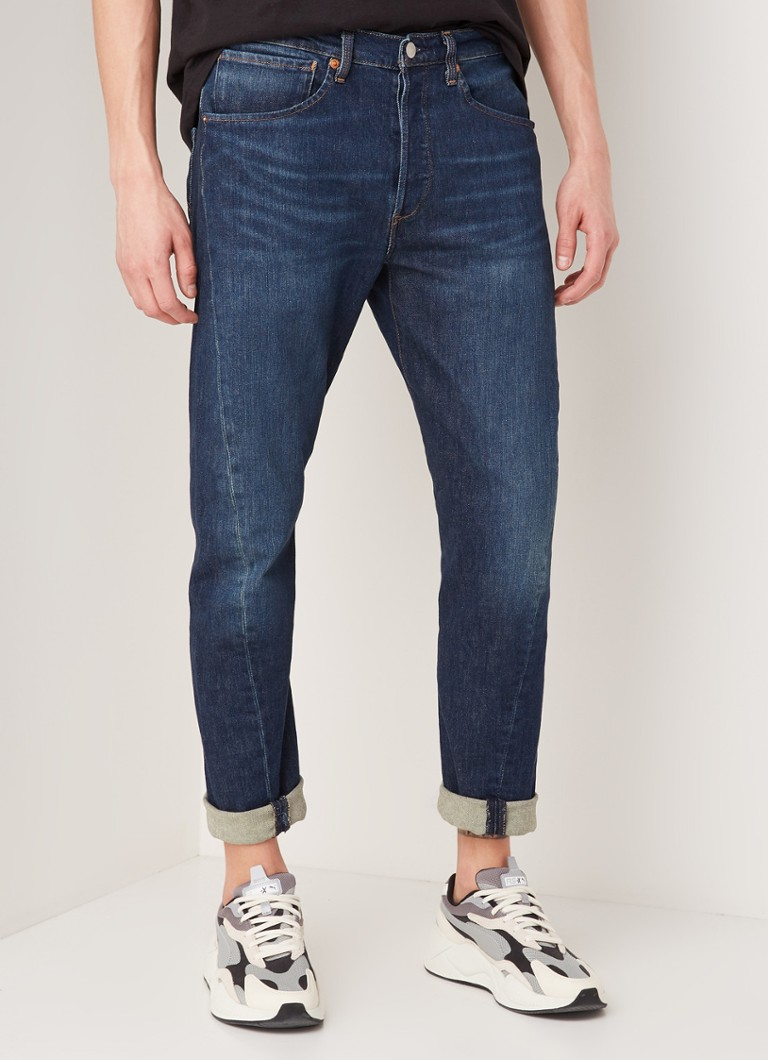 Levi's - 502 tapered fit jeans met donkere wassing - Indigo
