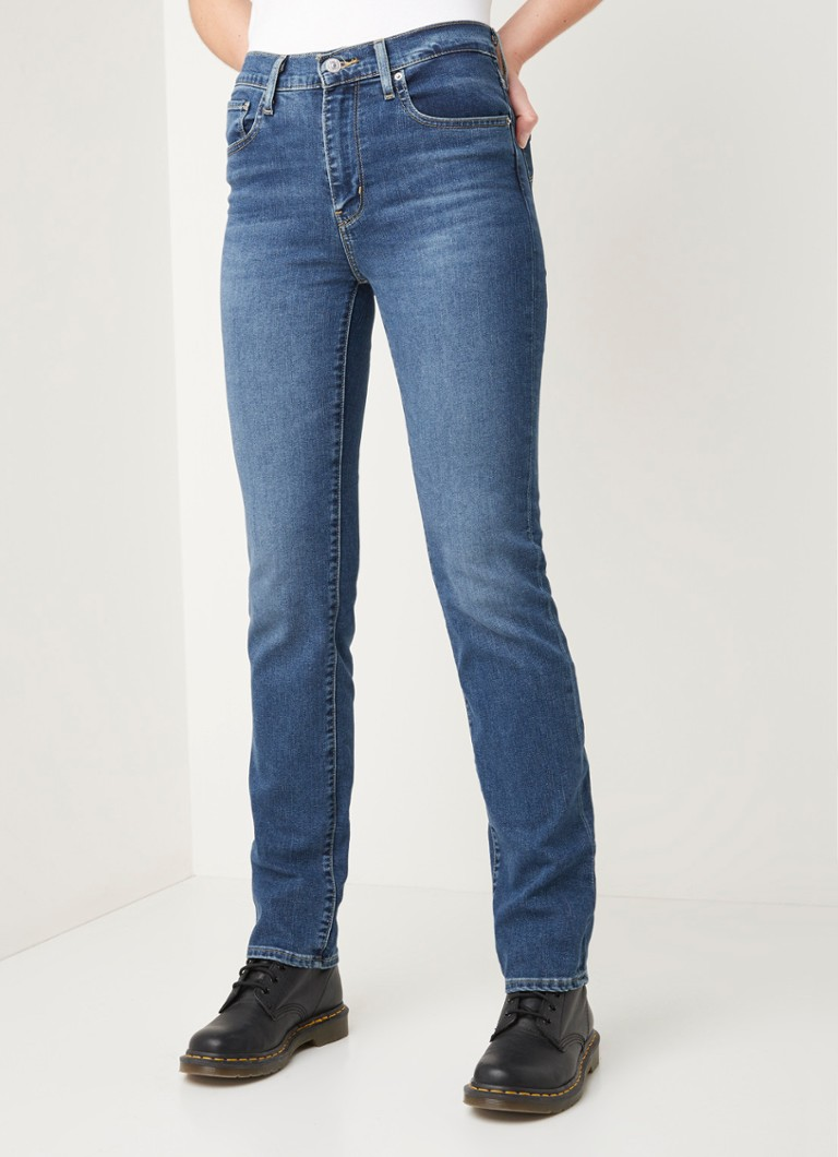 Levi's - 724 high waist straight fit jeans met medium wassing - Indigo