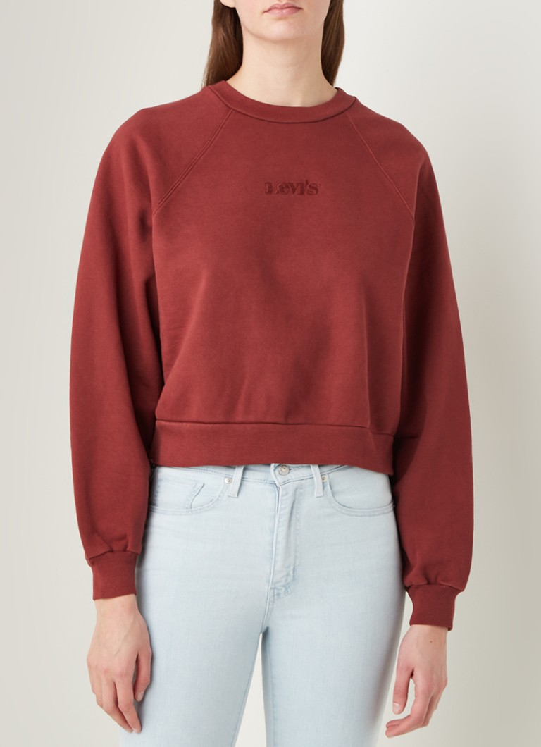 Levi's - Cropped sweater met logoborduring - Steenrood